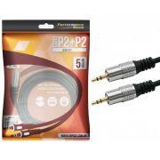 Cabo P2 Fitz 5 Metros P2 + P2 Estéreo Plug Metal Pix 018-0725
