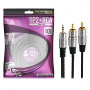 Cabo P2+RCA Fitz 10 Metros P2 Estéreo X 2 RCA Macho Plug Metal Pix 018-0710