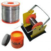 Suporte e Rolo de Estanho Solda Fluxo Cobix 500g Vermelho 63x37 0.5mm e Pasta P/Soldar Pote 110g
