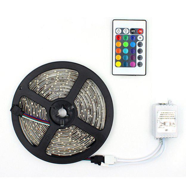 Fita Led RGB 3528 rolo 5m 12V Controle Remoto  - EMPORIO K