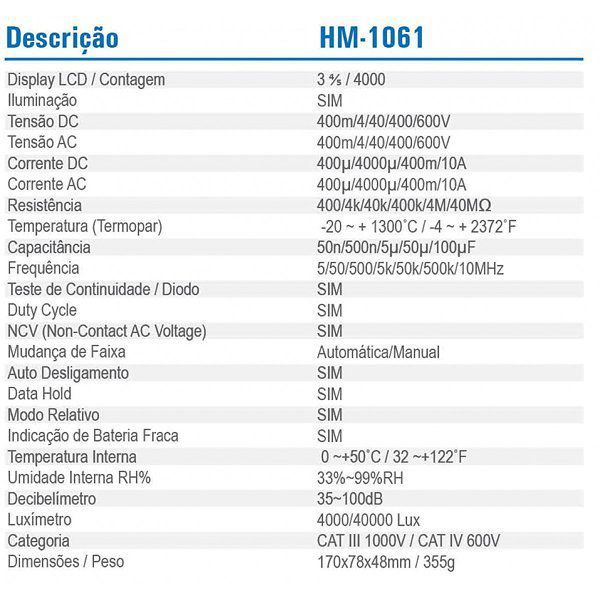 Multímetro Digital 6 Em 1 Duty Cycle Diodo Hm-1061 Hikari  - EMPORIO K