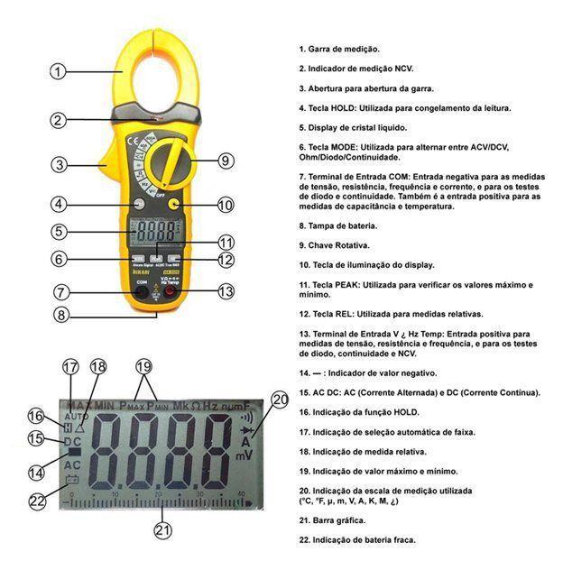 Alicate Amperímetro Hikari Ha-3320 Corrente Ac Dc 400a  - EMPORIO K