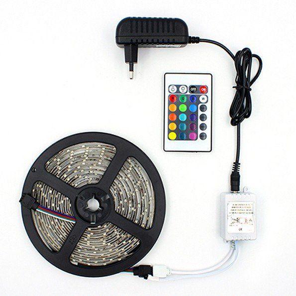 Fita Led RGB Colorida 3528 rolo 5m + fonte 12v Controle Remoto  - EMPORIO K
