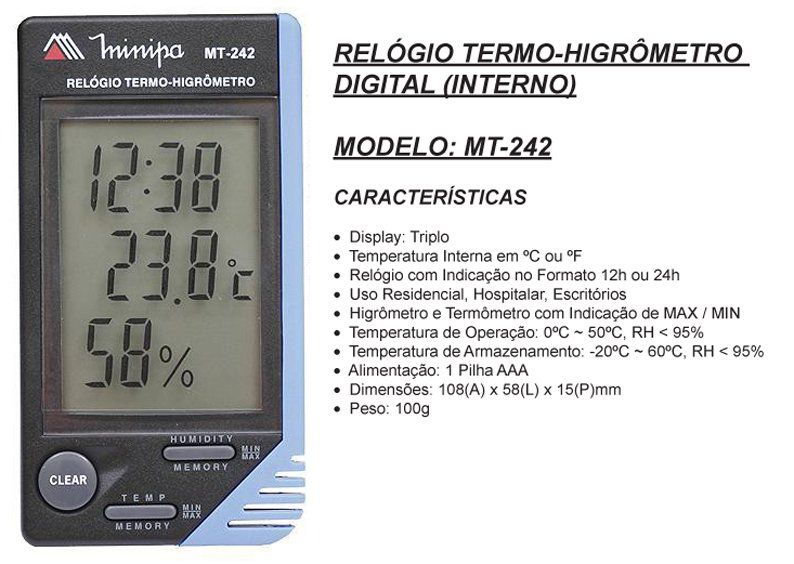 Relógio Termômetro Higrômetro Minipa Mt-242  3 X 1  - EMPORIO K