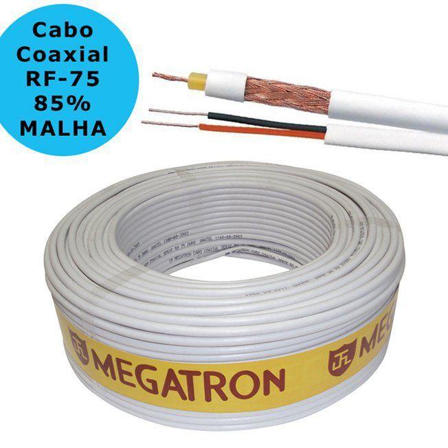 Cabo Coaxial CFTV Rf 0,4/2,5 75 Ohms + 2x26 awg 85% 100 Mts Megatron  - EMPORIO K