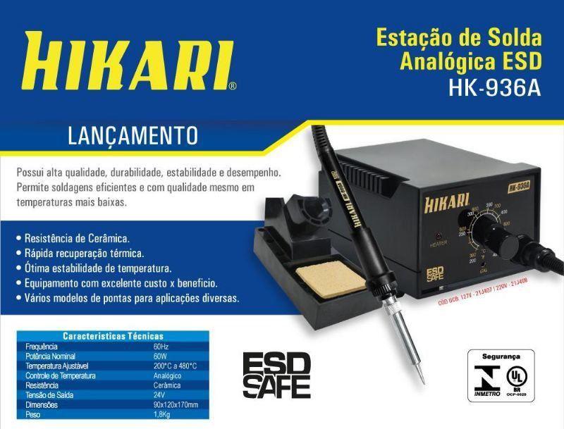 Estação de Solda Analógica ESD Hikari HK-936A  - EMPORIO K