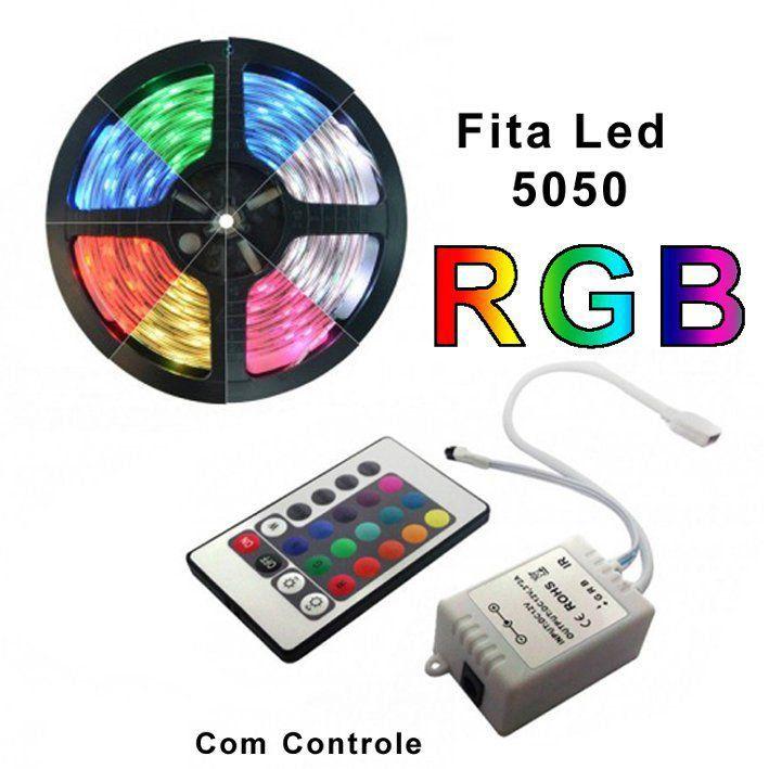 Fita de Led RGB 5050 rolo 5m IP65 12V sem fonte  - EMPORIO K