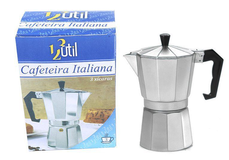 Cafeteira Italiana de Alumínio  3 Xícaras  - EMPORIO K