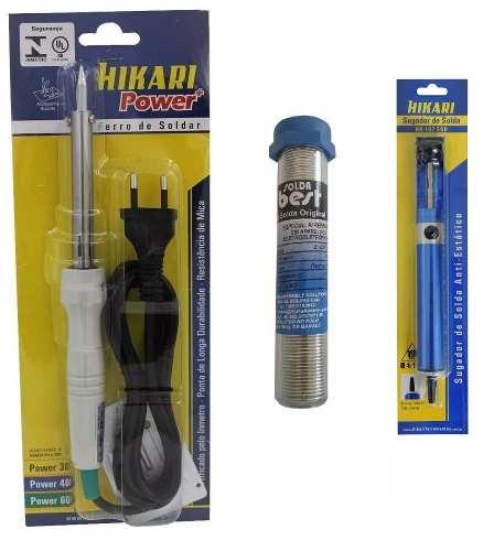 Kit Ferro Soldar Hikari +sugador Metal Hk 192 + Estanho Best  - EMPORIO K