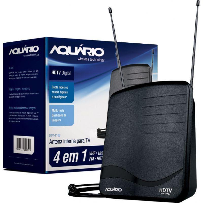 Antena Interna Digital Para Vhf Uhf Hdtv Fm Dtv 1100 Aquário  - EMPORIO K