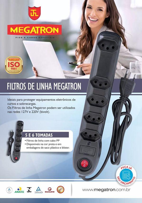 Filtro De Linha 5 Tomadas Megatron Bivolt 10a Inmetro  - EMPORIO K