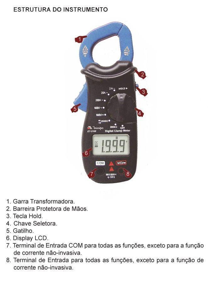 Alicate Amperimetro Digital de Bolso ET-3100 MINIPA  - EMPORIO K