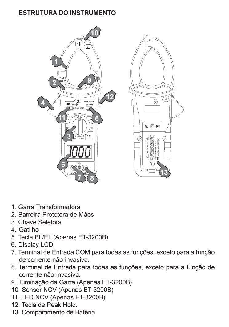 Alicate Amperímetro ET-3200B 1000 AC Garra Iluminada Minipa  - EMPORIO K