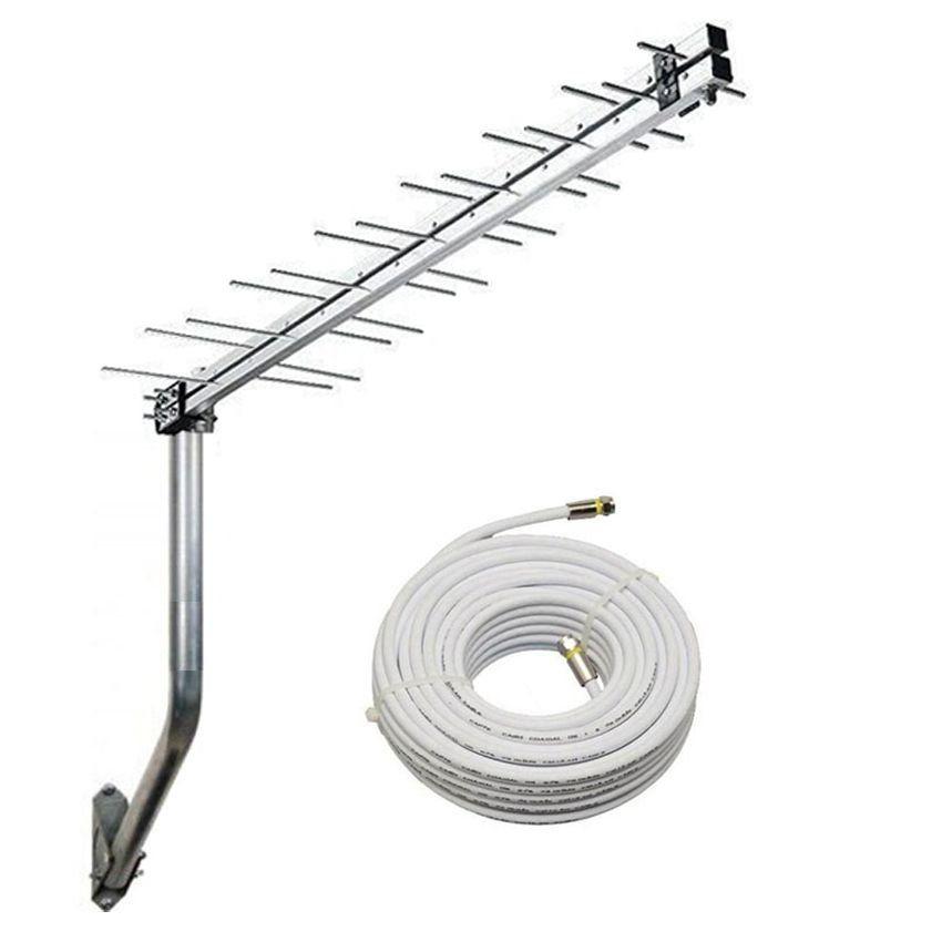 Antena TV UHF Digital Hd 28 Elementos Cabo Coaxial 15 metros e Mastro  - EMPORIO K