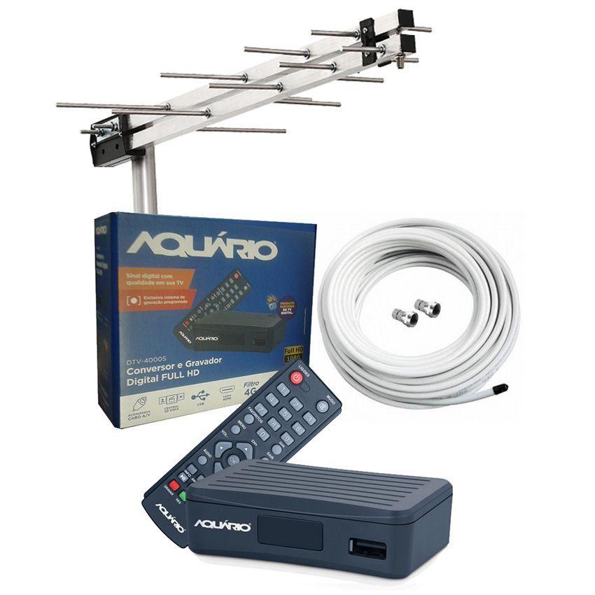 Antena Uhf Hd + Conversor Digital Aquario 4000S + 15 Metros Cabo  - EMPORIO K