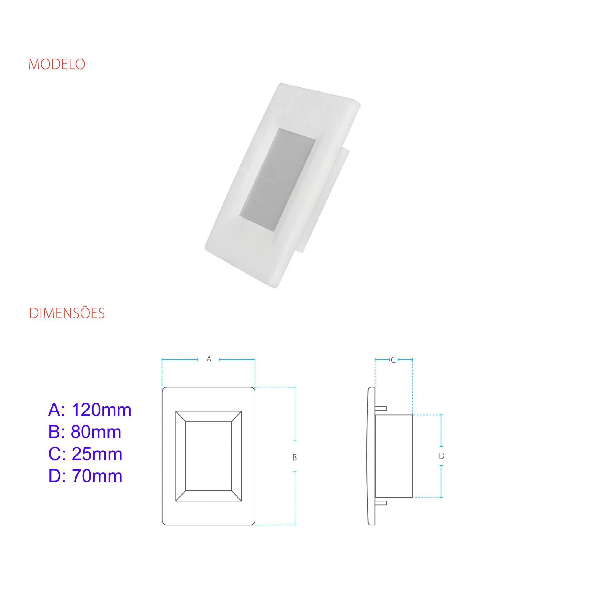 Balizador LED 4X2 AVANT 2W  Bivolt  Branco Quente 3000K  - EMPORIO K