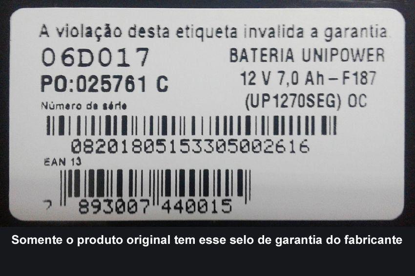 Bateria Selada Unipower VRLA 12V 7Ah UP1270SEG  - EMPORIO K