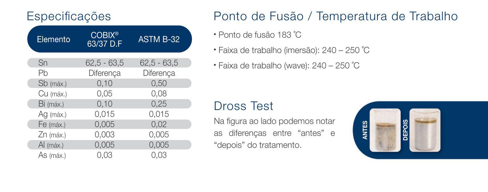 Estanho Solda em Barra Verga Dross Free Alloy 63X37  Marca Cobix 1 kg  - EMPORIO K