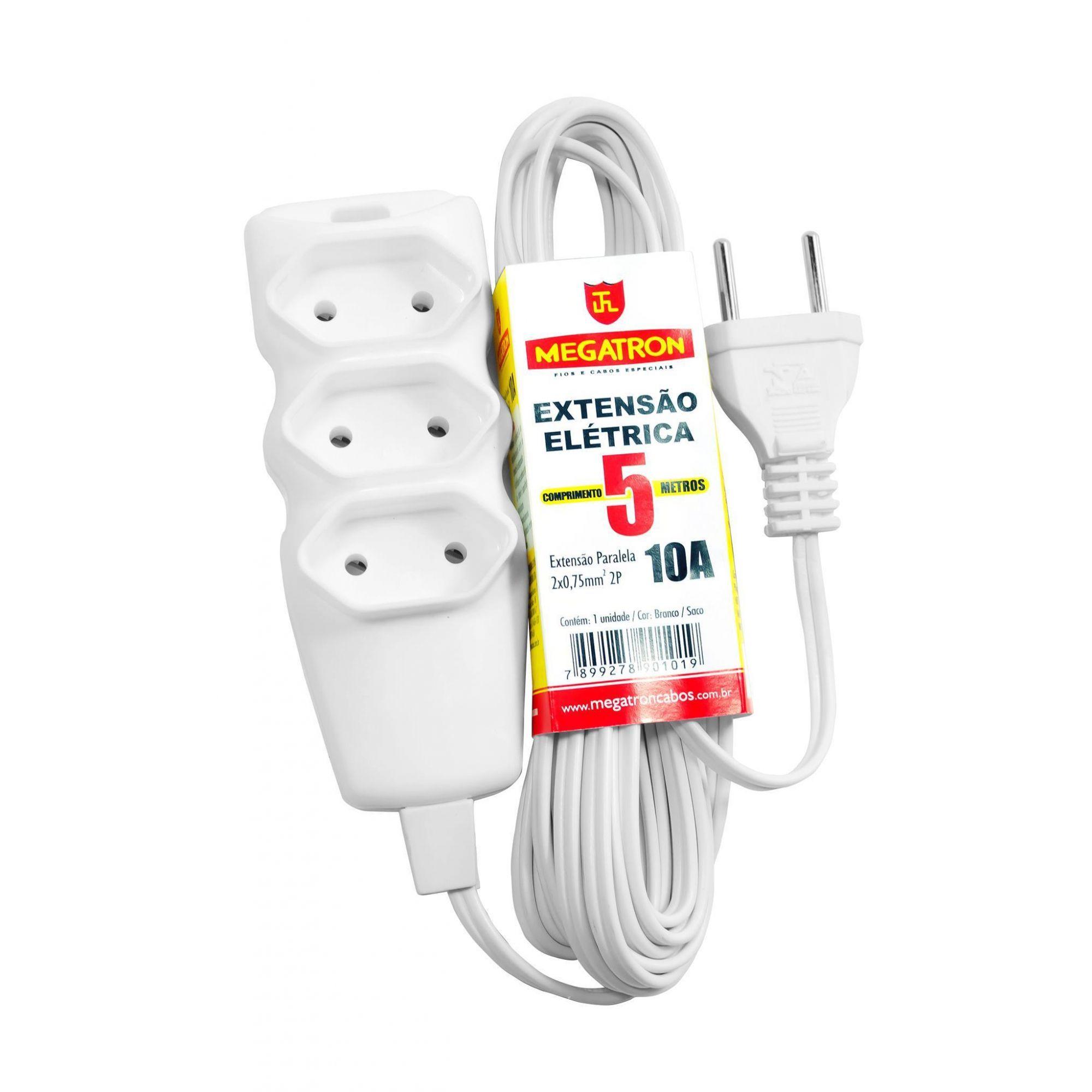 Extensão Elétrica 5mt 3 Tomadas 2 Pinos 10a Branco  Megatron  - EMPORIO K