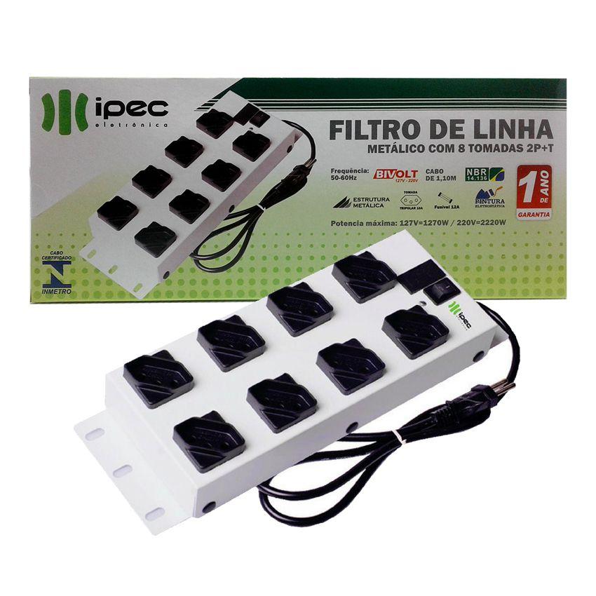 Filtro De Linha Metálico 8 Tomadas Ipec Bivolt 12a Inmetro  - EMPORIO K