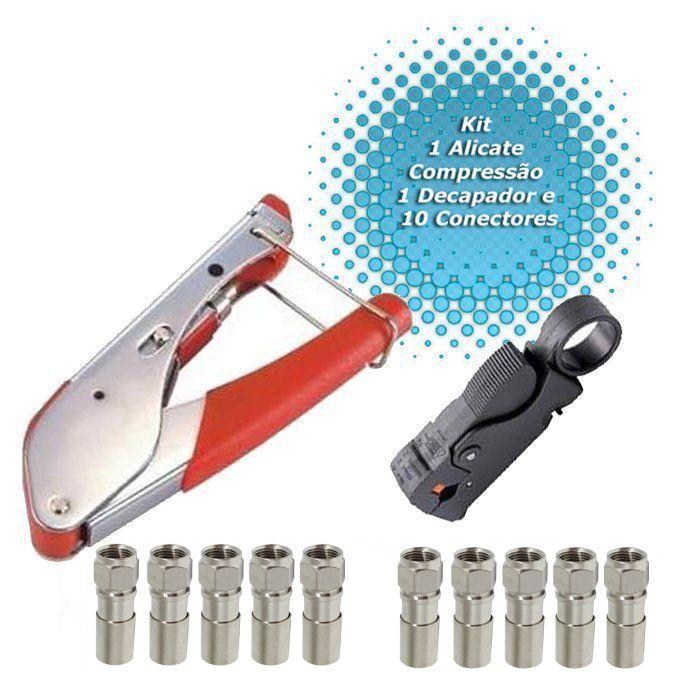 Kit Alicate Compressão + Decapador + 10 Conectores Compressão  - EMPORIO K