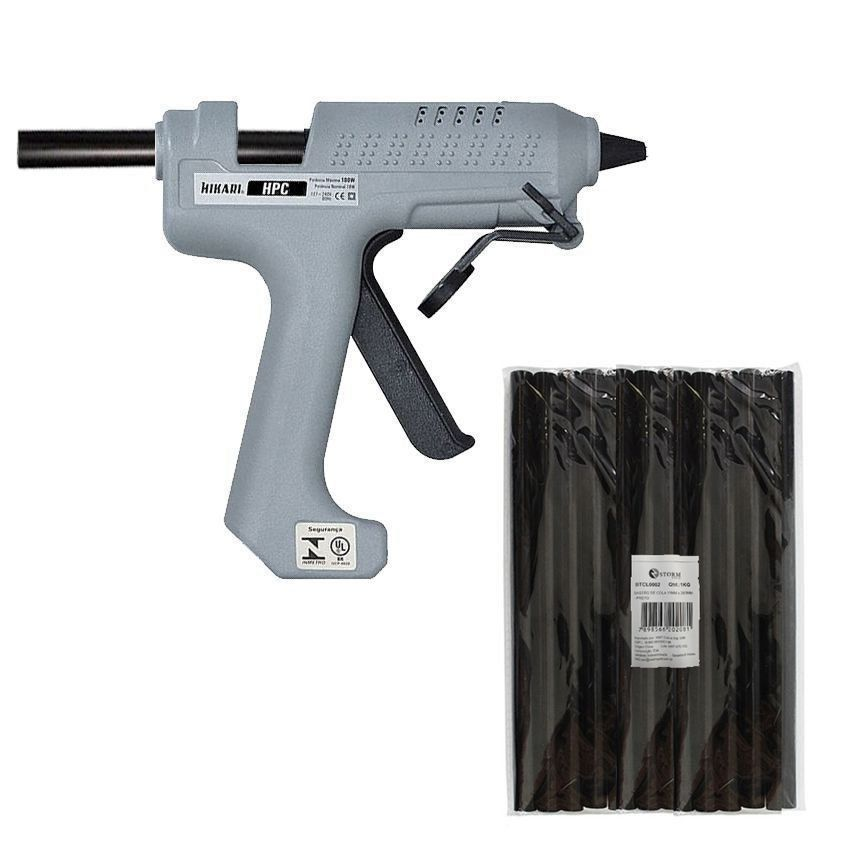 Kit Pistola Cola Quente Hikari Hpc-100 + 1 Kg Cola Preta  - EMPORIO K