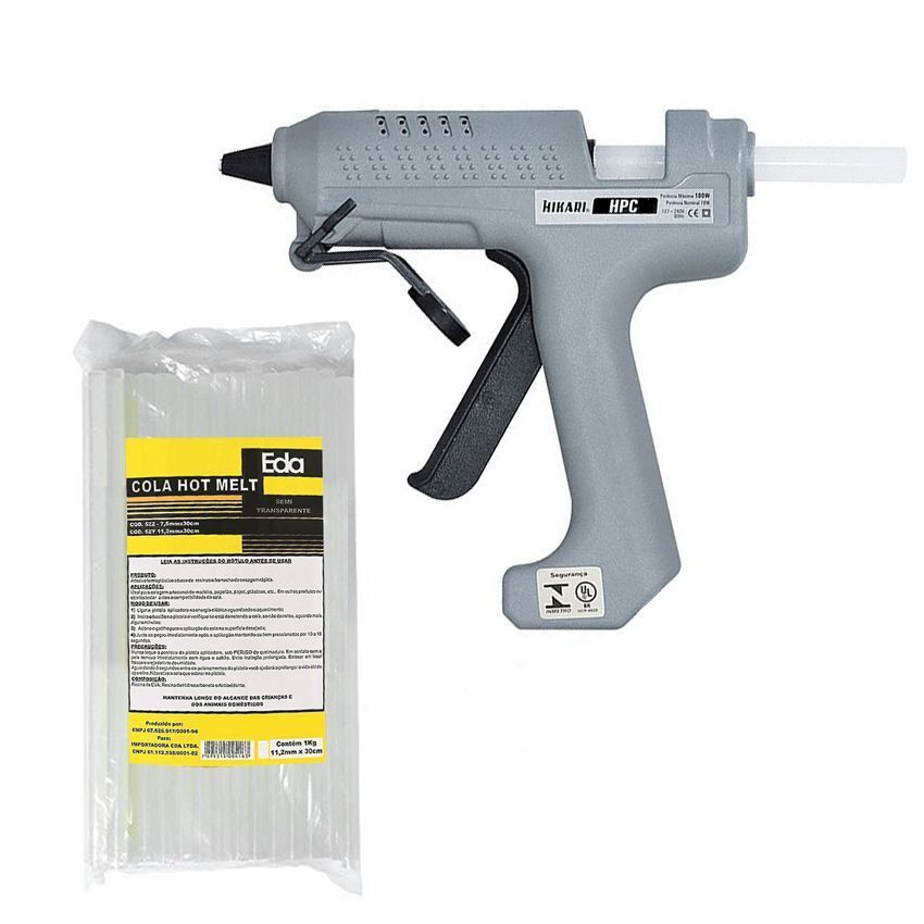 Kit Pistola Cola Quente Hikari Hpc-100 + 1 Kg Cola Transparente  - EMPORIO K