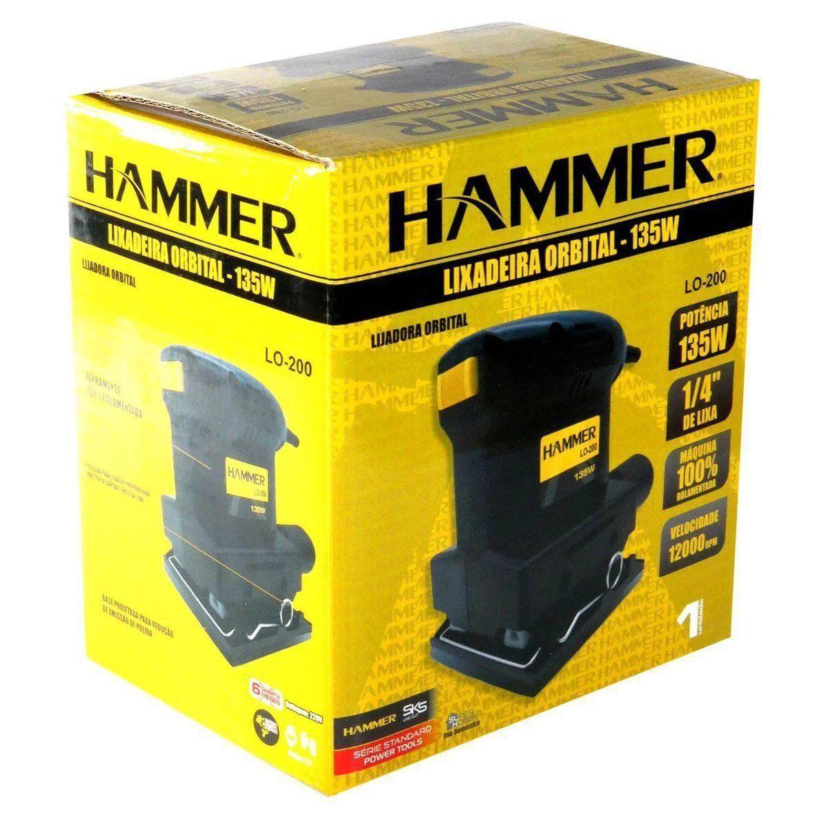 Lixadeira Orbital 1/4 Lixa Hammer 135w 12000 Rpm LO-200  - 220 v  - EMPORIO K