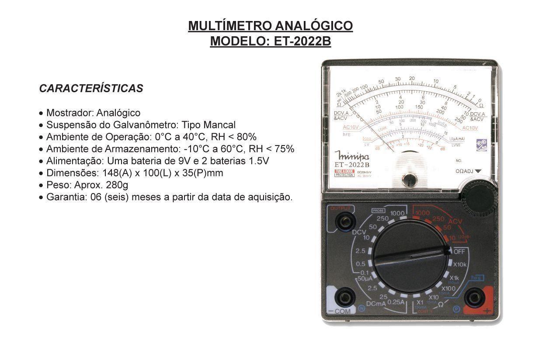 Multímetro Analógico ET-2022B Minipa  - EMPORIO K