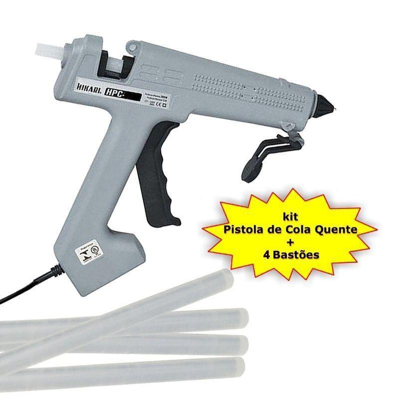 Pistola de Cola Quente HPC-100 100W Bivolt Hikari + 4 Bastões Cola  - EMPORIO K