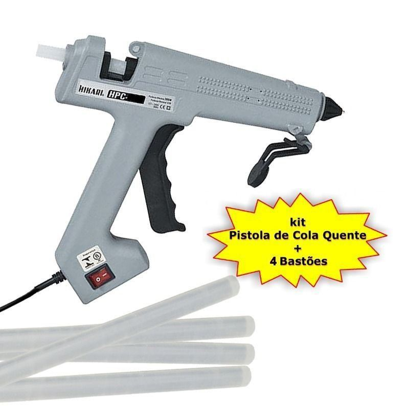 Pistola de Cola Quente HPC-280 280W Bivolt Hikari + 4 Bastões cola  - EMPORIO K