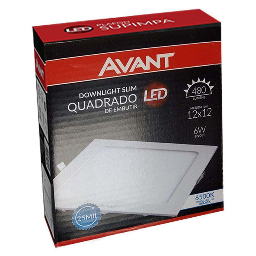 Plafon Led Quadrado 6w Painel Embutir Slim Avant  - EMPORIO K