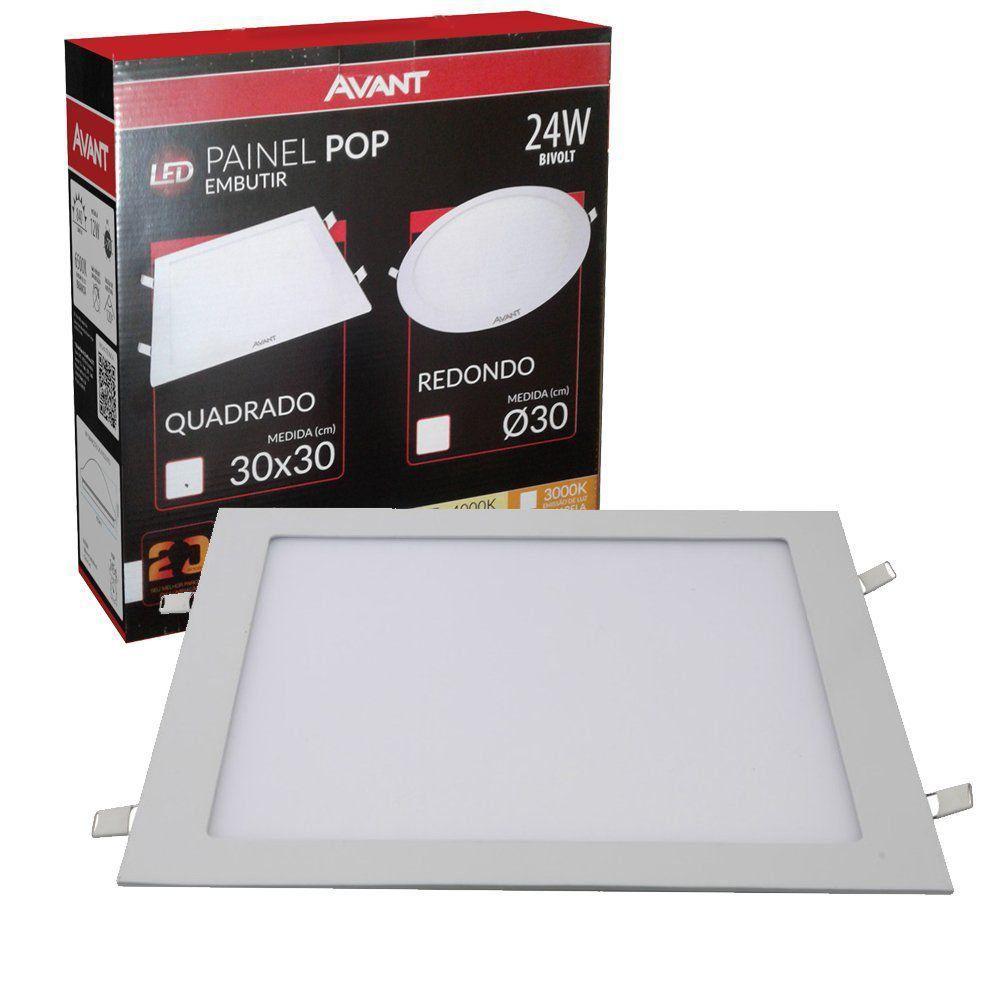 Plafon Led Quadrado 24w Painel Embutir Slim  Avant  - EMPORIO K