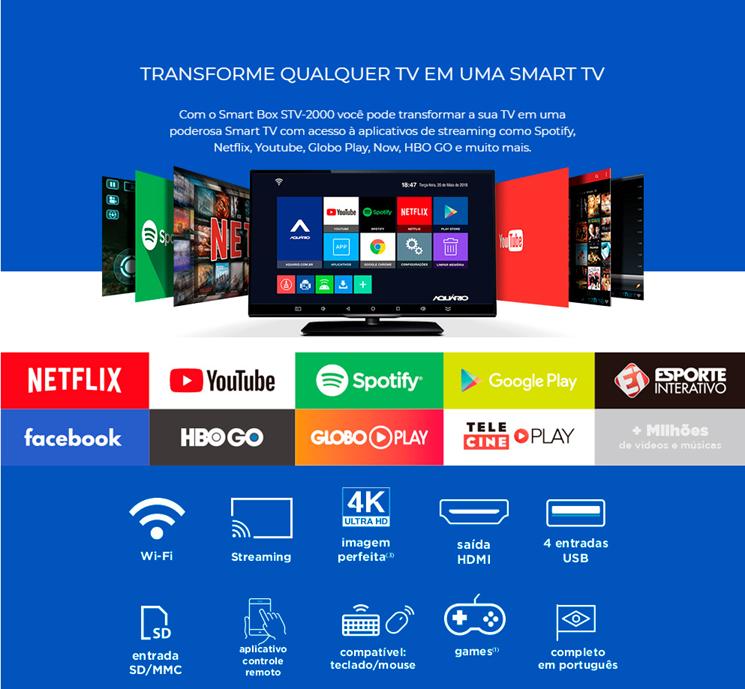 Smart Tv Box Aquário 4k Android 7.12 Netflix Facebook ...