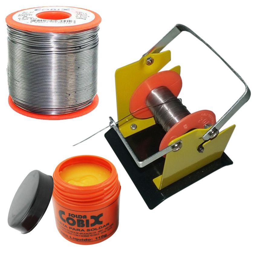 Suporte e Rolo de Estanho Solda Fluxo Cobix 500g Vermelho 63x37 0.5mm e Pasta P/Soldar Pote 110g  - EMPORIO K