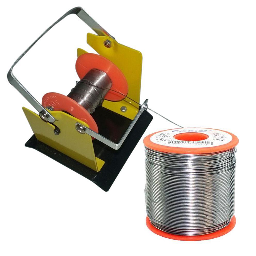 Suporte e Rolo De Estanho Solda Fluxo Cobix 500g Vermelho 63x37 0.8mm  - EMPORIO K