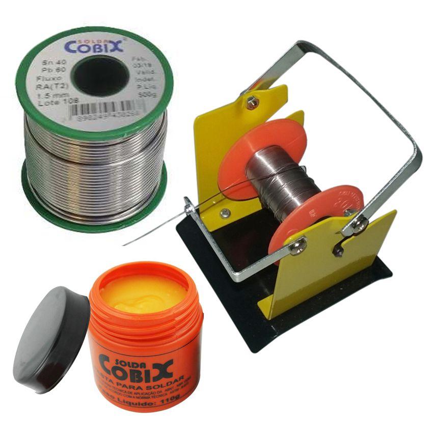 Suporte Rolo Carretel estanho  1.5mm 500g 40x60 Verde Cobix +Pasta Soldar 110g  - EMPORIO K