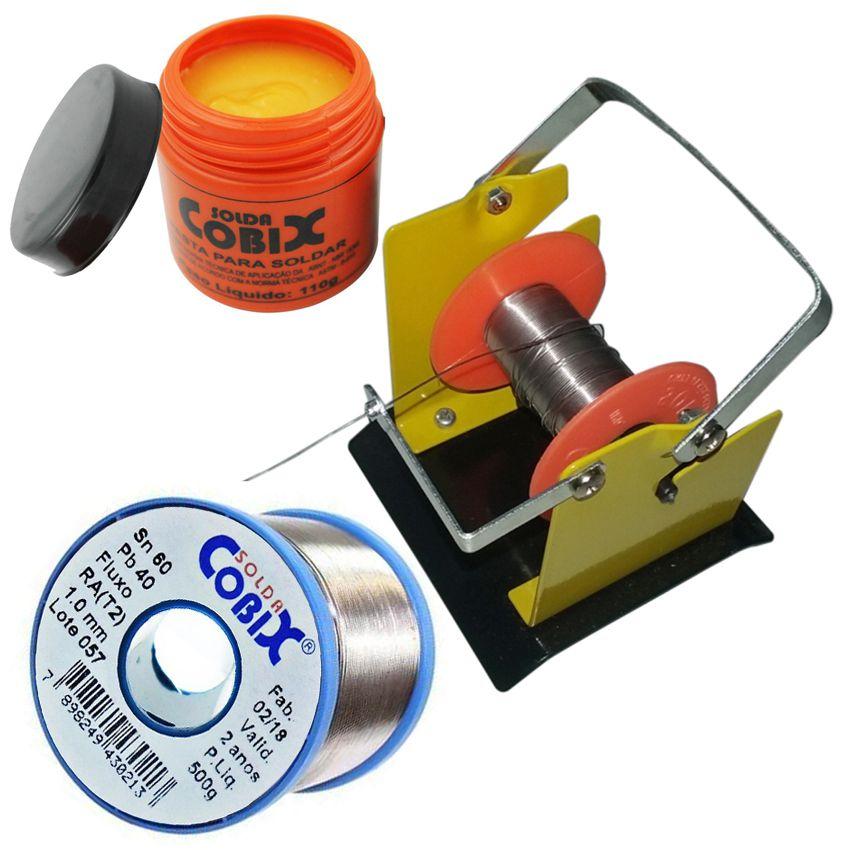Suporte  Rolo de Estanho Solda Fluxo Cobix 500g Azul 60x40 1.0mm e Pasta P/Soldar Pote 110g  - EMPORIO K