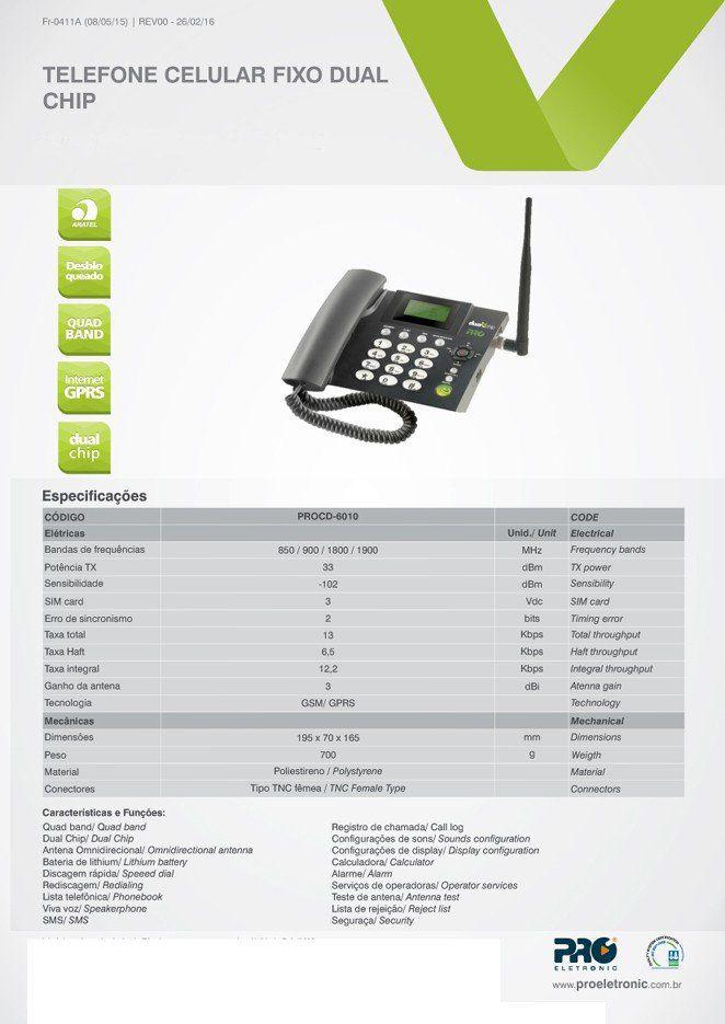 Telefone Celular Rural Mesa  2 Chip  Proeletronic PROCD-6010  - EMPORIO K