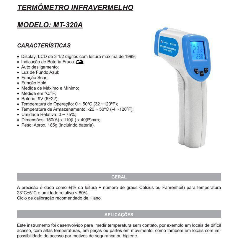Termômetro Digital Infravermelho Mira a LASER - MT-320A - Minipa  - EMPORIO K
