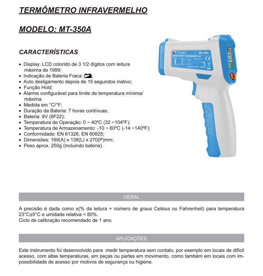 Termômetro Digital Infravermelho Mira a LASER - MT-350A - Minipa  - EMPORIO K