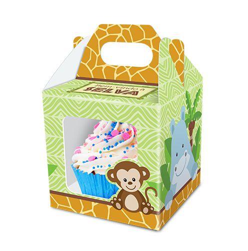 Caixa Cupcake  Safari Bem Vindo a Selva - 8 unidades