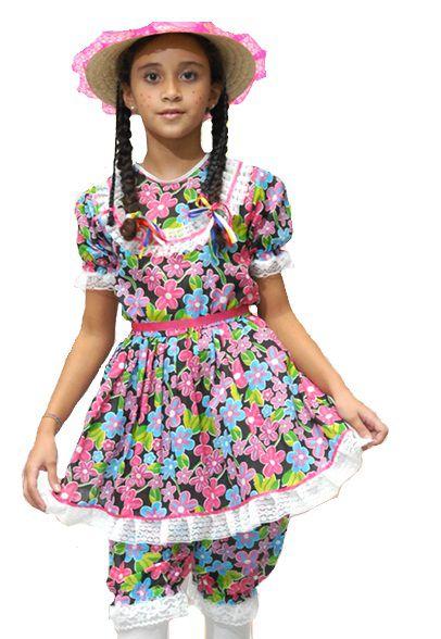 Vestido Caipira Junino com Culote Infantil