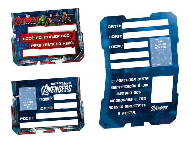 Convite Vingadores A Era de Ultron - 8 unidades