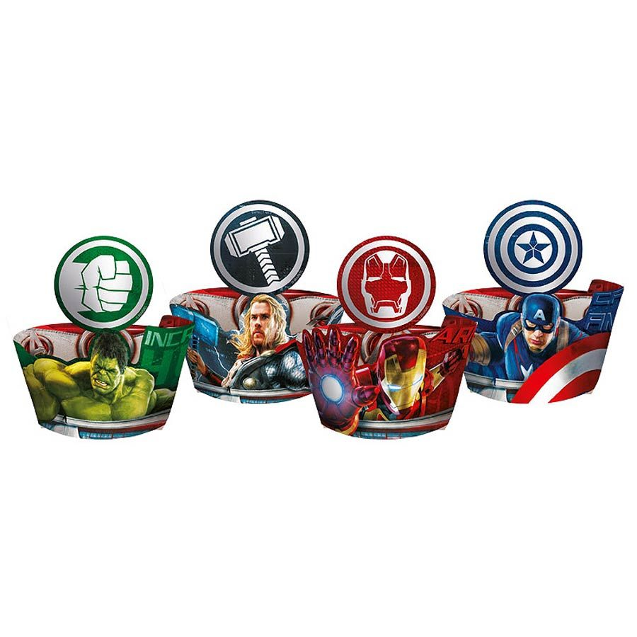 Porta cupcake wrapper com-enfeite Vingadores A Era de Ultron