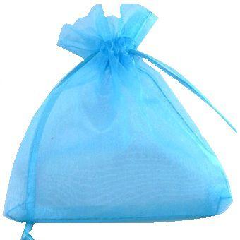 Saquinho em Organza 9,5cmx14cm - Azul