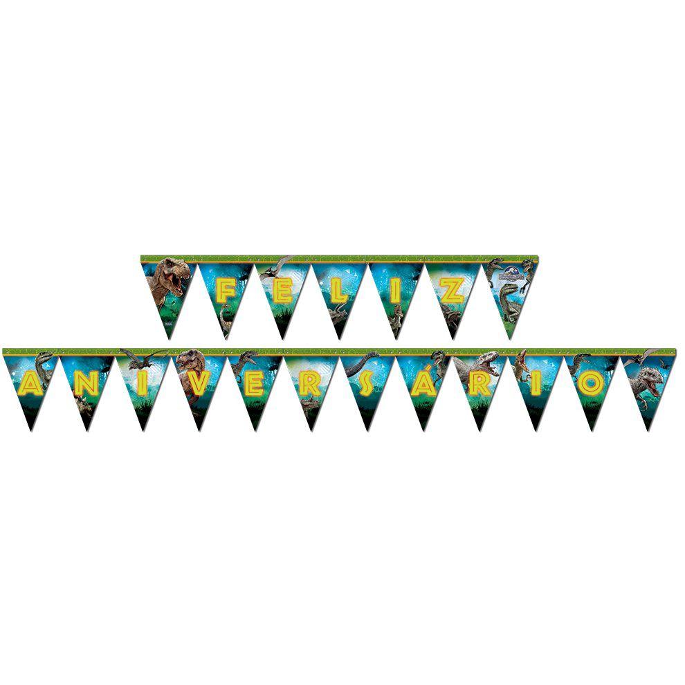 Faixa Feliz Aniversário Jurassic World - Festcolor