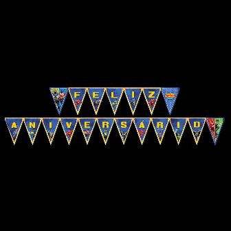 Faixa Feliz Aniversário Liga da Justiça