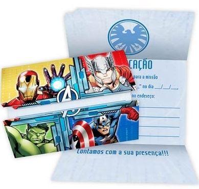 Convite Vingadores - 8 unidades