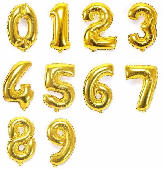 Balão de Número Metalizado Dourado - 1 metro